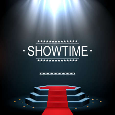 Ilustracja wektorowa banera Showtime z podium i czerwony dywan oświetlony reflektorami