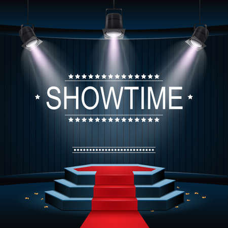 Showtime banner with podium and red carpet illuminated by spotlights