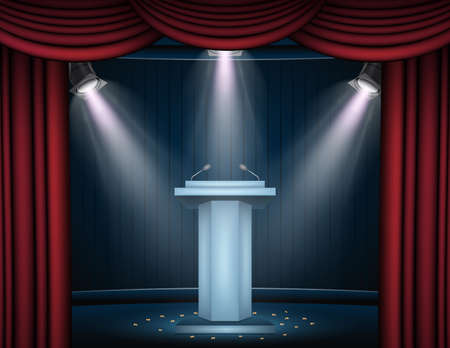 Showtime banner with podium and curtain illuminated by spotlights