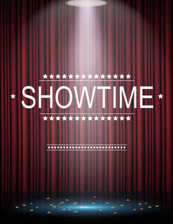 Showtime background with curtain illuminated by spotlights Stock Photo