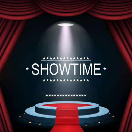 Showtime banner with podium and curtain illuminated by spotlights Standard-Bild - 100754012