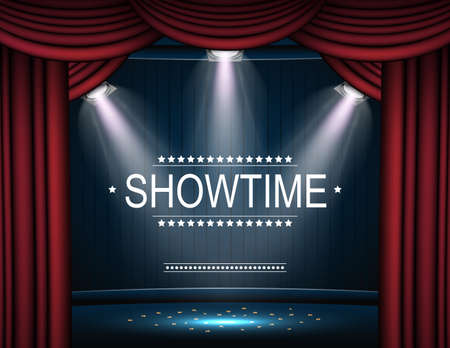 Vector illustration of Showtime background with curtain illuminated by spotlights. Standard-Bild - 102088351