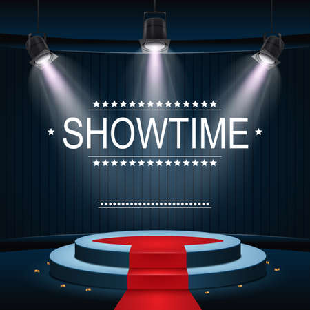 Vector illustration of Showtime banner with podium and red carpet illuminated by spotlights Illustration