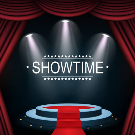 Vector illustration of Showtime banner with podium and curtain illuminated by spotlights Standard-Bild - 100481511