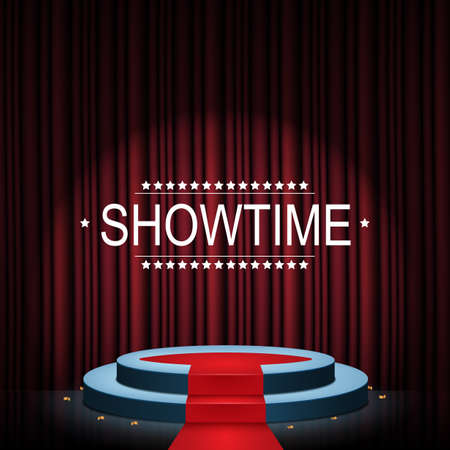 Vector illustration of Showtime banner with podium and curtain illuminated by spotlights Standard-Bild - 100481513