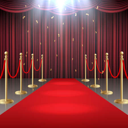 Red carpet and curtain and barrier rope in glow of spotlights Standard-Bild - 101214520