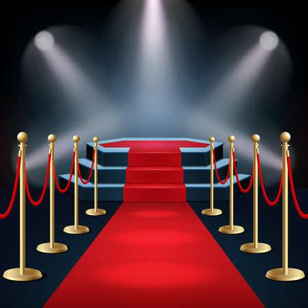 Podium avec tapis rouge et corde de barrière à la lueur des projecteurs