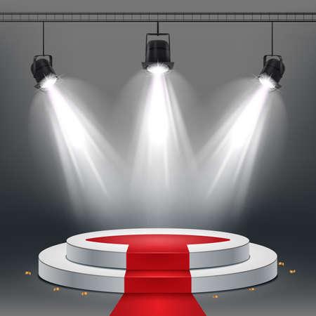 White podium and red carpet illuminated by spotlights 写真素材