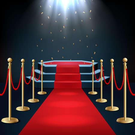 Illustrazione vettoriale del podio con tappeto rosso e corda barriera nel bagliore dei faretti