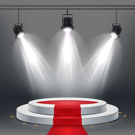 Vector illustration of White podium and red carpet illuminated by spotlights Standard-Bild - 100958262