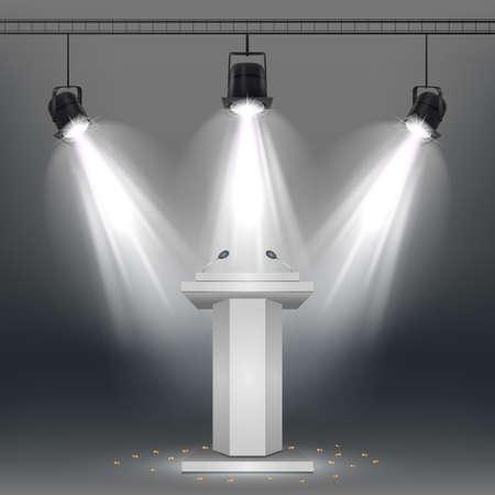 Vector illustration of White podium illuminated by spotlights Standard-Bild - 100958266
