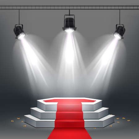 Vector illustration of White podium and red carpet illuminated by spotlights