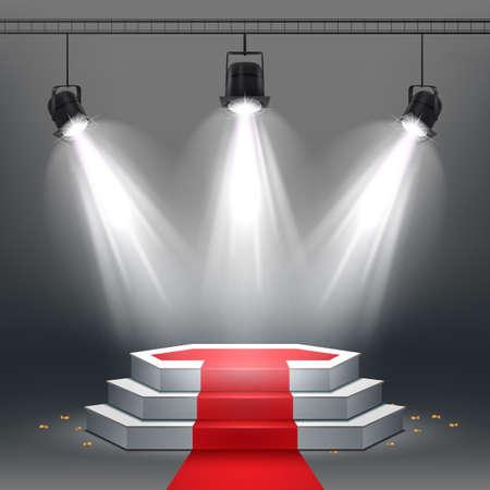 Vector illustration of White podium and red carpet illuminated by spotlights Standard-Bild - 100958268