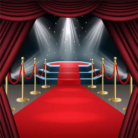 Vector illustration of Podium with red carpet and curtain in glow of spotlights Standard-Bild - 100958267