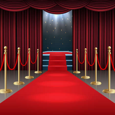 Vector illustration of Podium with red carpet and curtain in glow of spotlights Standard-Bild - 100958270