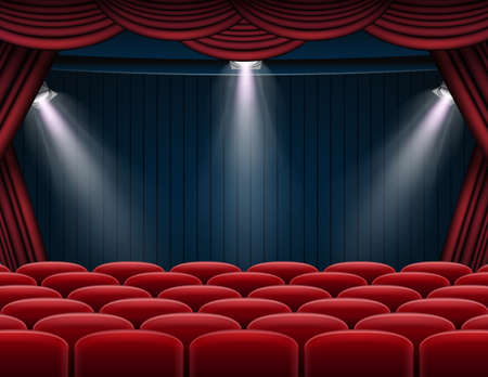 Vector illustration of Premium red curtains stage, theater or opera background with spotlight