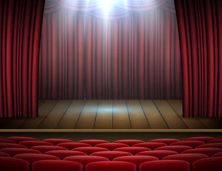 Vector illustration of Premium red curtains stage, theater or opera background with spotlight Standard-Bild - 117524597