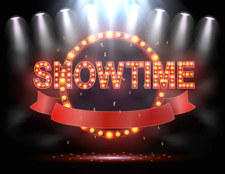 Vector illustration of Showtime background illuminated by spotlights