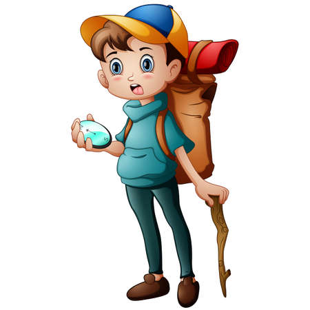 Little boy adventure with holding a compass