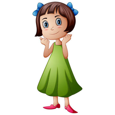Cute schoolgirl cartoon giving thumbs up