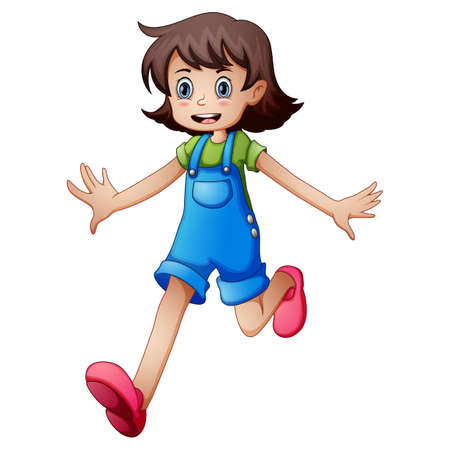 Vector illustration of a young girl running on a white background