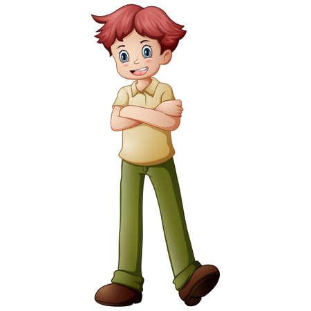 Vector illustration of Cute little boy posing Standard-Bild - 121838077