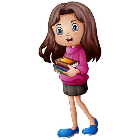 Vector illustration of a happy girl cartoon holding a book  イラスト・ベクター素材