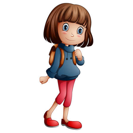 Vector illustration of a happy school girl cartoon