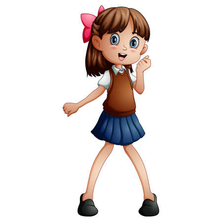 Vector illustration of a cute girl in a school uniform Standard-Bild - 121838364