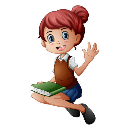 Vector illustration of Little girl sitting with holding a book Standard-Bild - 121838365
