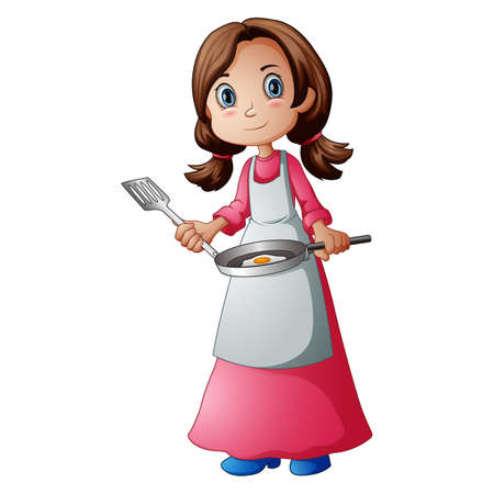 Vector illustration of a happy woman cooking an egg Standard-Bild - 121838367