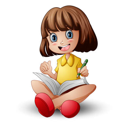 Little girl sitting with holding a book