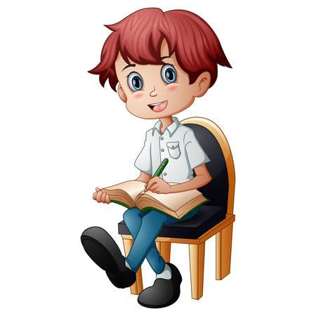 Petit garçon assis sur la chaise avec la tenue d'un livre