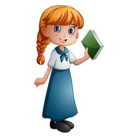 Happy girl cartoon holding a book  イラスト・ベクター素材