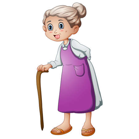 Old woman with a walking stick