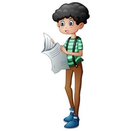 A young boy reading the newspaper