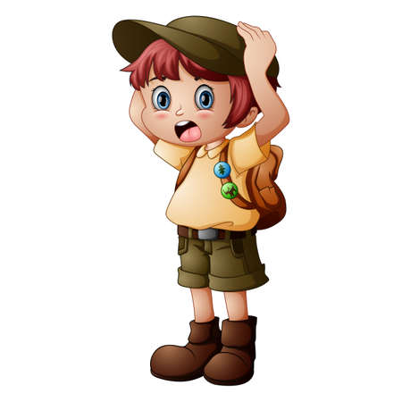 Esploratore da ragazzo con divisa da scout