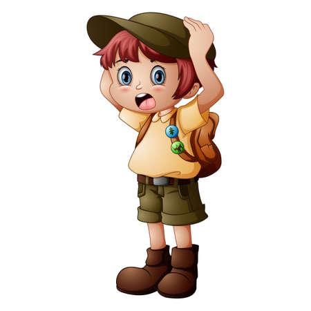 Explorateur de garçon avec l'uniforme de scout