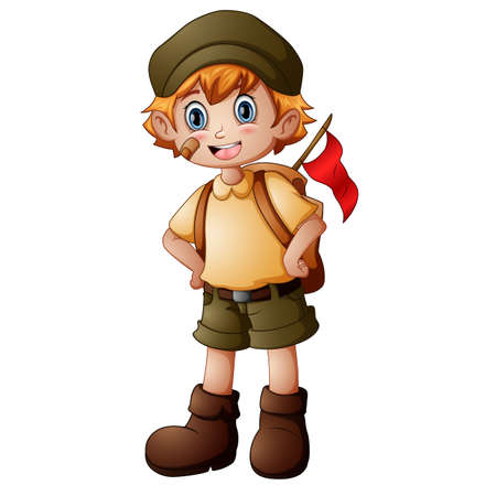 Boy explorer with scout uniform Standard-Bild - 123605523