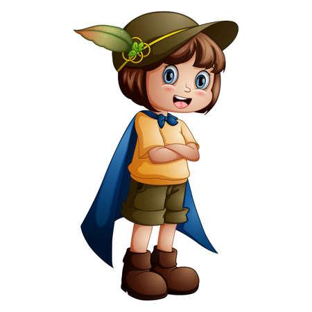 Girl explorer with scout uniform