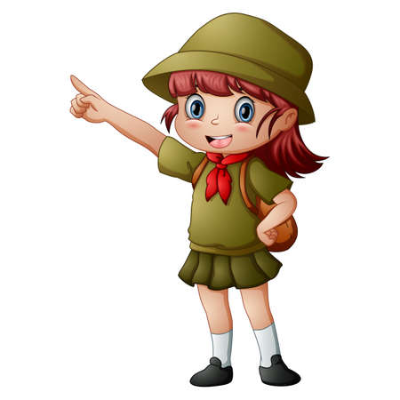 Scout girl standing with pointing