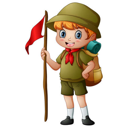 Scout boy holding red flag