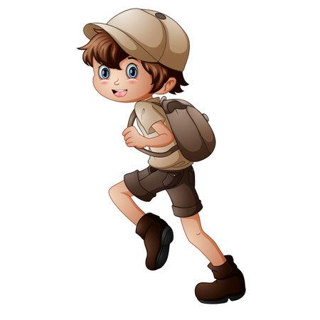 Happy scout boy running