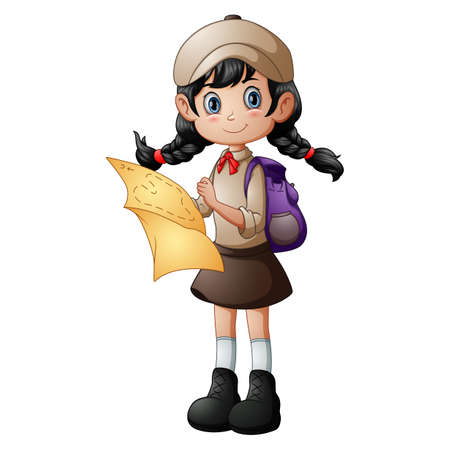 Scout girl standing with holding a map Illustration
