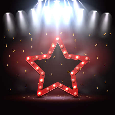 Vector illustration of Star background illuminated by spotlights