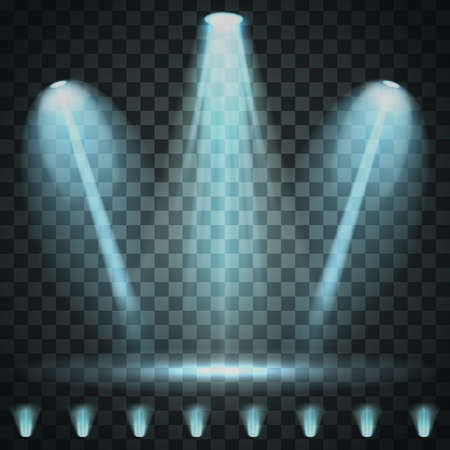 Set of Spotlight isolated on transparent background. Illustration glowing light effect with blue rays and beams Illustration