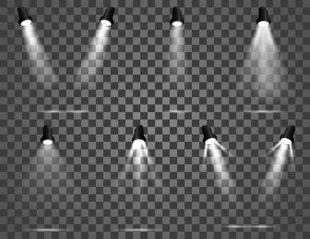 Illustration of spotlight set. Bright light beam. Transparent realistic effect. Stage lighting. Illuminated studio spotlights Illustration
