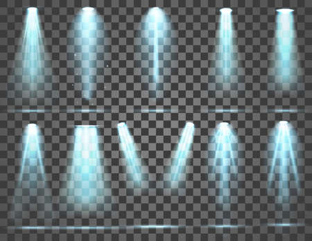 Set of Spotlight isolated on transparent background. Illustration of glowing light effect with blue rays and beams