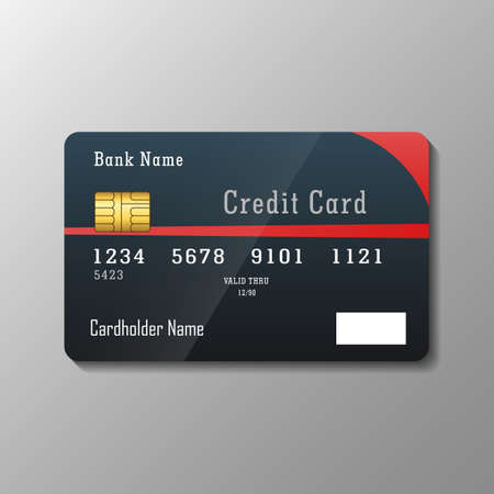 Credit card template on gray background Illustration