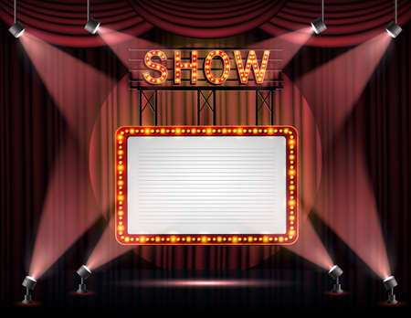 Showtime banner with curtain illuminated by spotlights